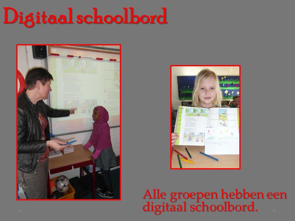Digitaal schoolbord Alle groepen hebben een digitaal schoolbord.