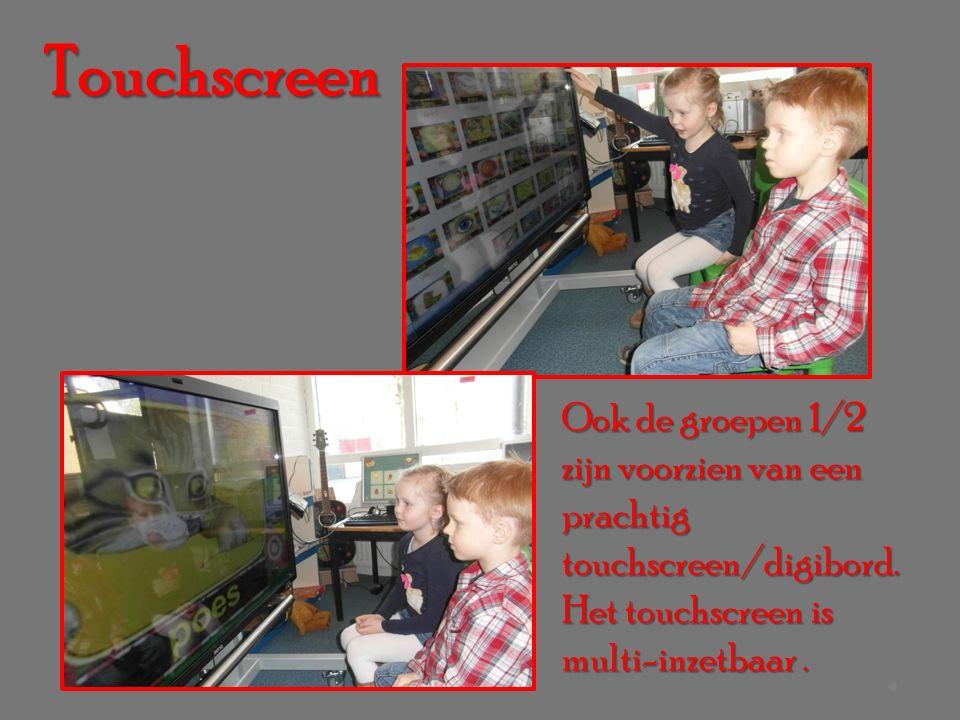 Ook de groepen 1/2 zijn voorzien van een prachtig touchscreen/digibord.