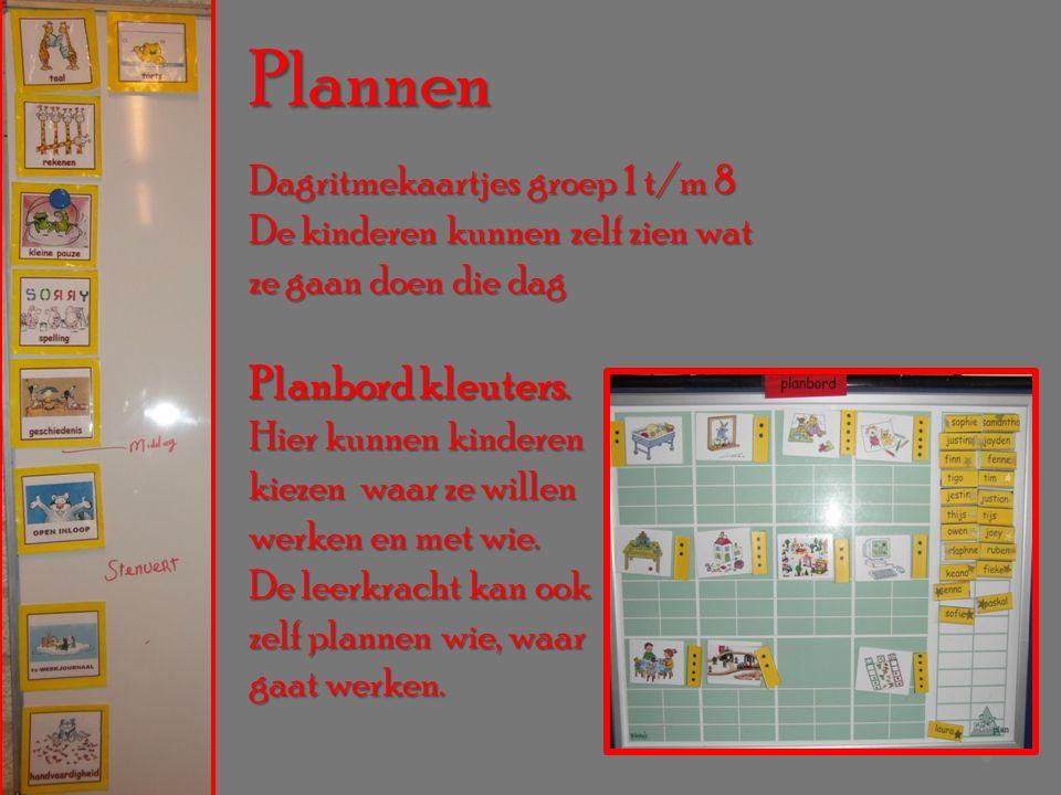 Plannen Dagritmekaartjes groep 1 t/m 8 De kinderen kunnen zelf zien wat ze gaan doen die dag Planbord kleuters.