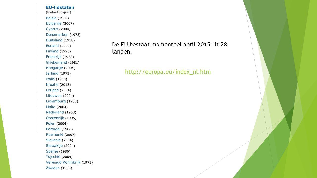 http://europa.eu/index_nl.htm De EU bestaat momenteel april 2015 uit 28 landen.
