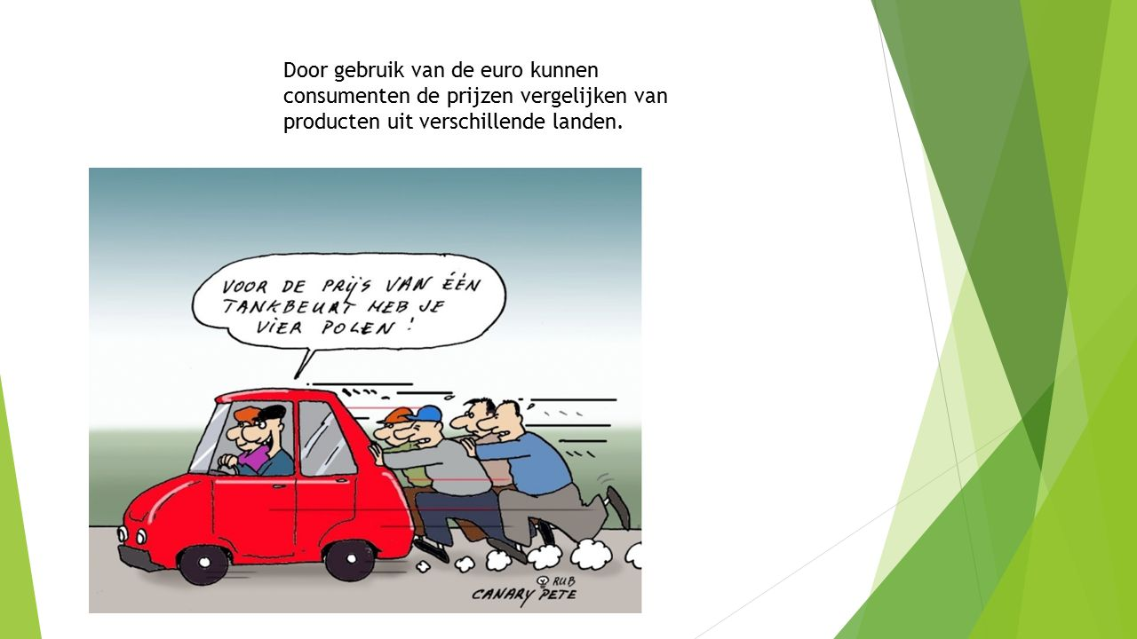 Door gebruik van de euro kunnen consumenten de prijzen vergelijken van producten uit verschillende landen.