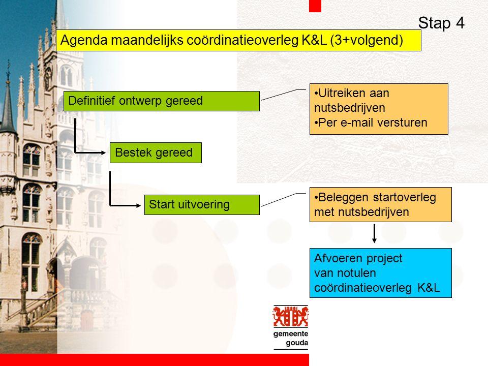 Agenda maandelijks coördinatieoverleg K&L (3+volgend) Definitief ontwerp gereed Bestek gereed Start uitvoering Stap 4 Uitreiken aan nutsbedrijven Per