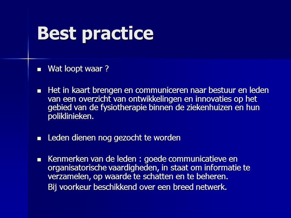 Best practice Wat loopt waar . Wat loopt waar .