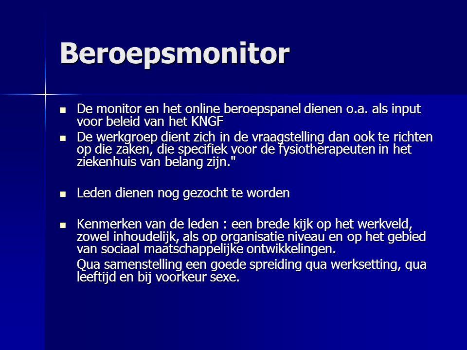 Beroepsmonitor De monitor en het online beroepspanel dienen o.a.