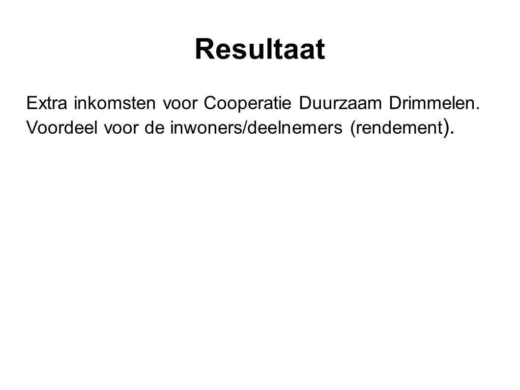 Resultaat Extra inkomsten voor Cooperatie Duurzaam Drimmelen. Voordeel voor de inwoners/deelnemers (rendement ).