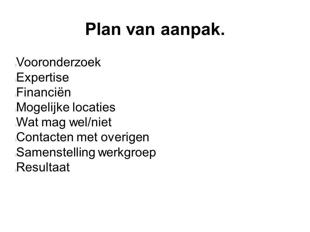 Plan van aanpak. Vooronderzoek Expertise Financiën Mogelijke locaties Wat mag wel/niet Contacten met overigen Samenstelling werkgroep Resultaat