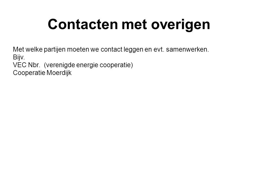 Contacten met overigen Met welke partijen moeten we contact leggen en evt. samenwerken. Bijv. VEC Nbr. (verenigde energie cooperatie) Cooperatie Moerd