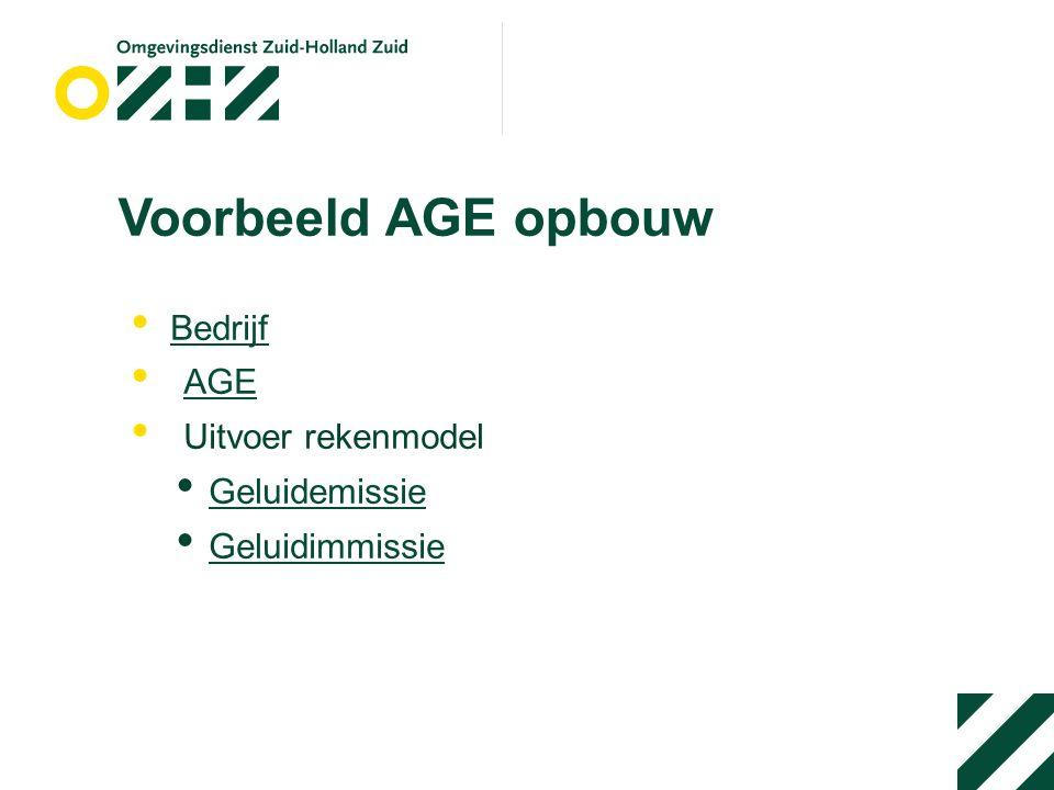 Voorbeeld AGE opbouw Bedrijf AGE Uitvoer rekenmodel Geluidemissie Geluidimmissie