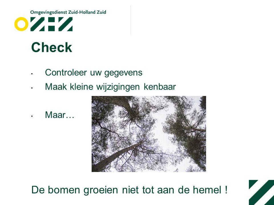 Check Controleer uw gegevens Maak kleine wijzigingen kenbaar Maar… De bomen groeien niet tot aan de hemel !