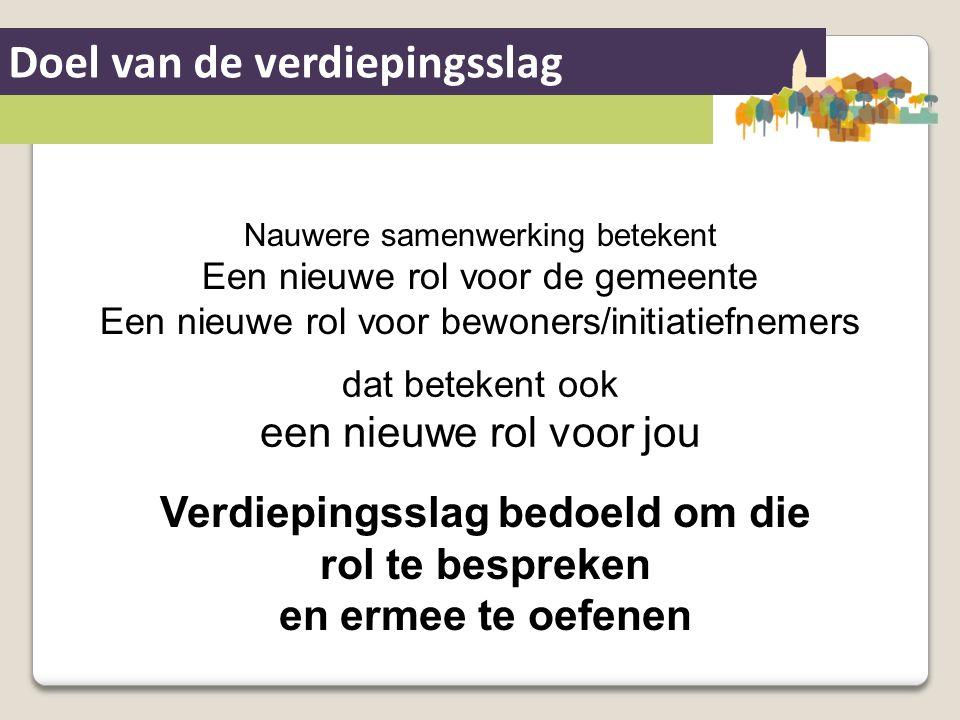 Doel van de verdiepingsslag Nauwere samenwerking betekent Een nieuwe rol voor de gemeente Een nieuwe rol voor bewoners/initiatiefnemers dat betekent o
