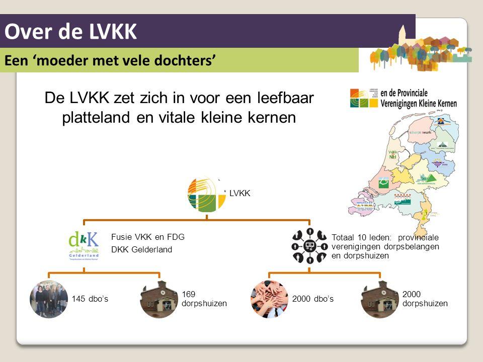Over de LVKK Een 'moeder met vele dochters' De LVKK zet zich in voor een leefbaar platteland en vitale kleine kernen LVKK Fusie VKK en FDG DKK Gelderl