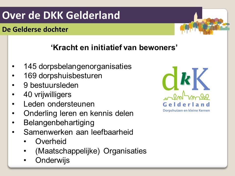 Over de DKK Gelderland De Gelderse dochter 'Kracht en initiatief van bewoners' 145 dorpsbelangenorganisaties 169 dorpshuisbesturen 9 bestuursleden 40
