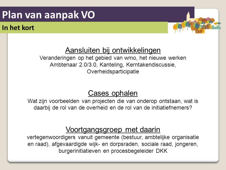 Plan van aanpak VO In het kort Aansluiten bij ontwikkelingen Veranderingen op het gebied van wmo, het nieuwe werken Ambtenaar 2.0/3.0, Kanteling, Kern