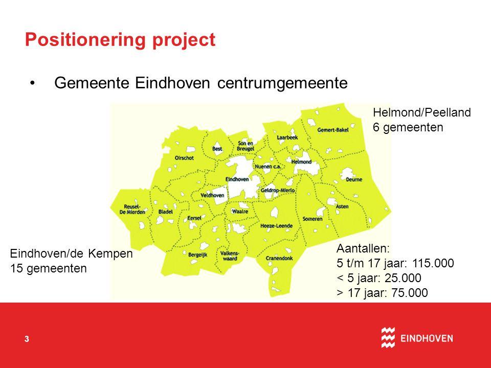 3 Positionering project Gemeente Eindhoven centrumgemeente Eindhoven/de Kempen 15 gemeenten Helmond/Peelland 6 gemeenten Aantallen: 5 t/m 17 jaar: 115.000 < 5 jaar: 25.000 > 17 jaar: 75.000