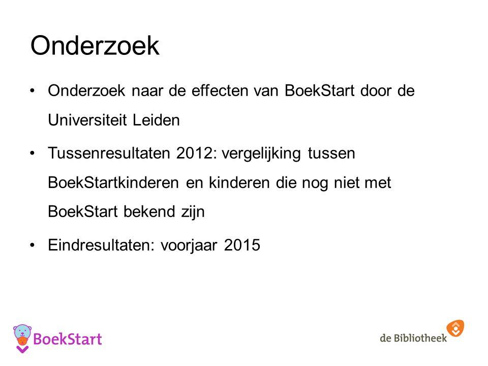 Onderzoek Onderzoek naar de effecten van BoekStart door de Universiteit Leiden Tussenresultaten 2012: vergelijking tussen BoekStartkinderen en kinderen die nog niet met BoekStart bekend zijn Eindresultaten: voorjaar 2015
