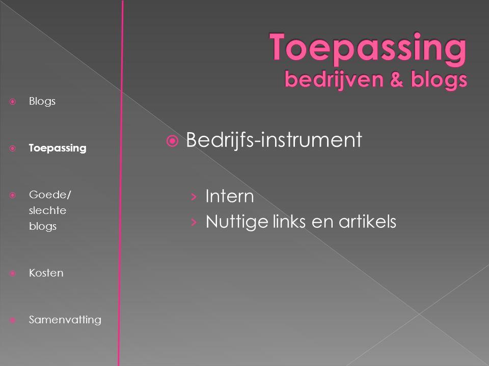  Blogs  Toepassing  Goede/ slechte blogs  Kosten  Samenvatting  Bedrijfs-instrument › Intern › Nuttige links en artikels