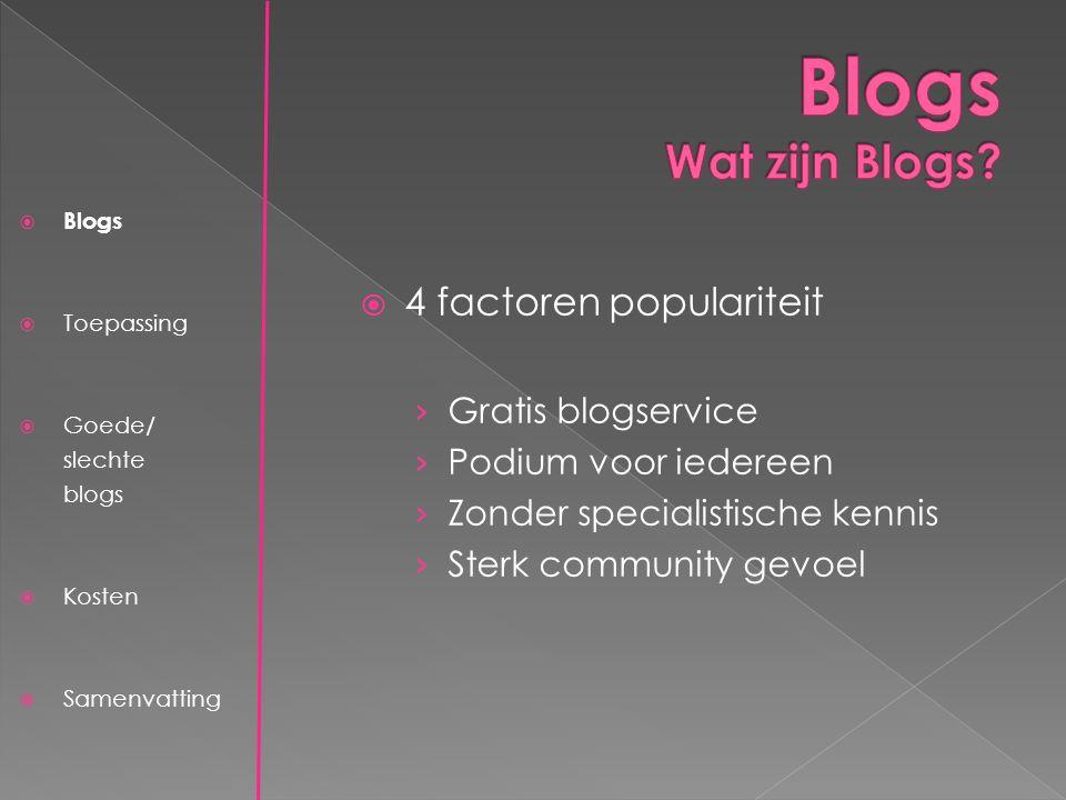  4 factoren populariteit › Gratis blogservice › Podium voor iedereen › Zonder specialistische kennis › Sterk community gevoel  Blogs  Toepassing  Goede/ slechte blogs  Kosten  Samenvatting