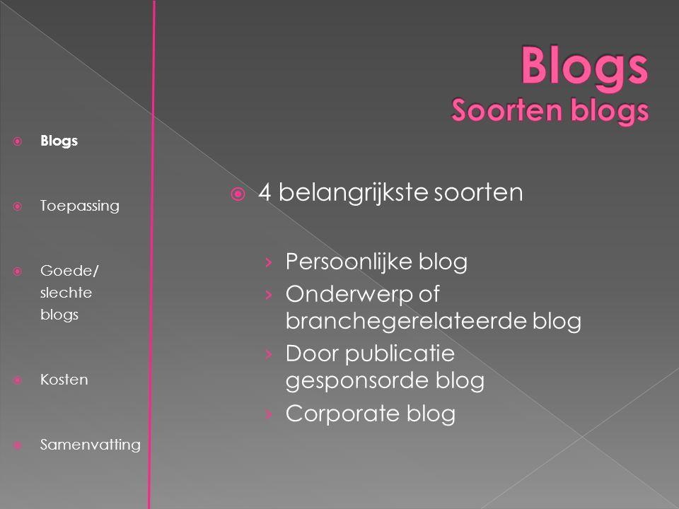  Blogs  Toepassing  Goede/ slechte blogs  Kosten  Samenvatting  4 belangrijkste soorten › Persoonlijke blog › Onderwerp of branchegerelateerde blog › Door publicatie gesponsorde blog › Corporate blog