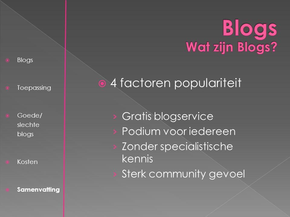  Blogs  Toepassing  Goede/ slechte blogs  Kosten  Samenvatting  4 factoren populariteit › Gratis blogservice › Podium voor iedereen › Zonder specialistische kennis › Sterk community gevoel
