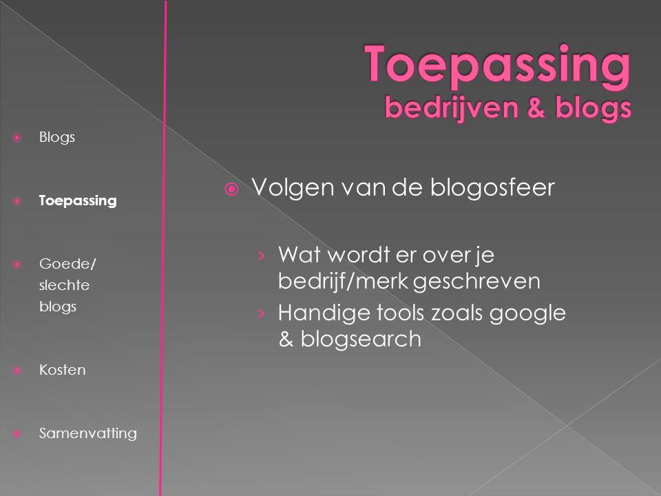  Blogs  Toepassing  Goede/ slechte blogs  Prijs  Samenvatting  Advertentie-instrument › Gericht adverteren op specifieke blogs › Efficiënt