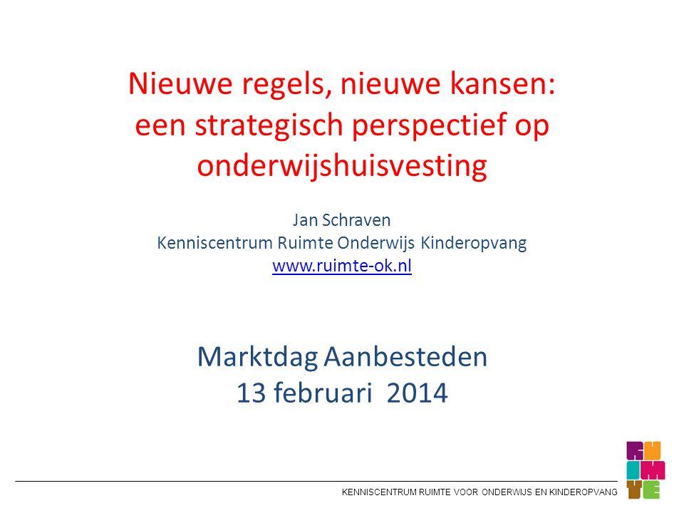 KENNISCENTRUM RUIMTE VOOR ONDERWIJS EN KINDEROPVANG Nieuwe regels, nieuwe kansen: een strategisch perspectief op onderwijshuisvesting Jan Schraven Ken