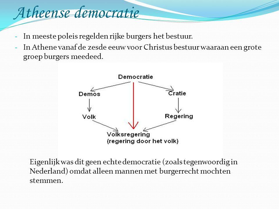 Atheense democratie - In meeste poleis regelden rijke burgers het bestuur.
