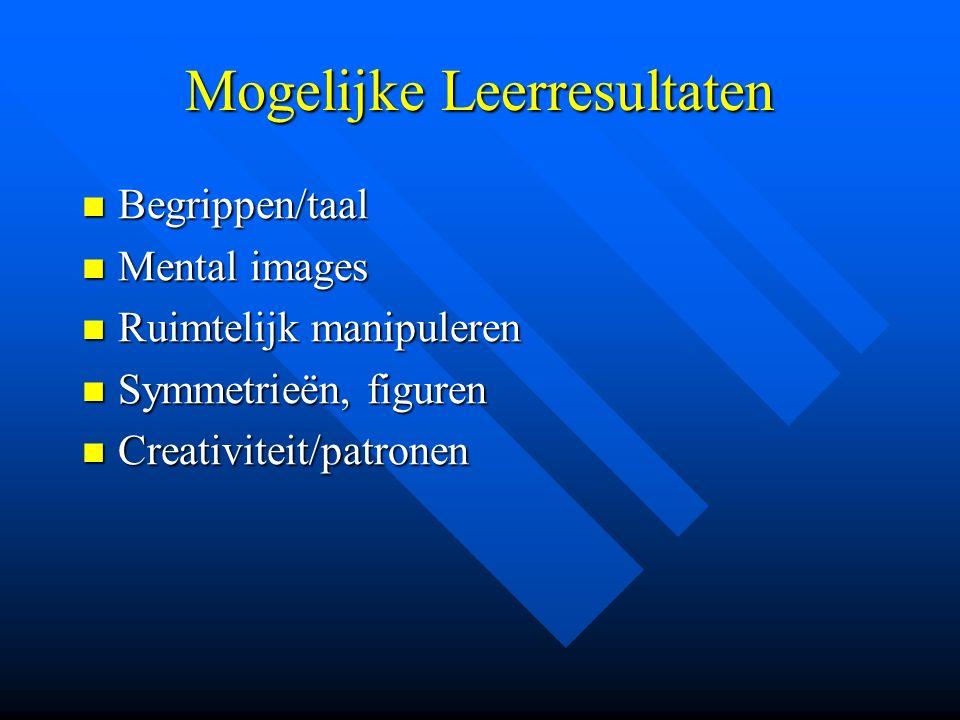 Mogelijke Leerresultaten Begrippen/taal Begrippen/taal Mental images Mental images Ruimtelijk manipuleren Ruimtelijk manipuleren Symmetrieën, figuren Symmetrieën, figuren Creativiteit/patronen Creativiteit/patronen