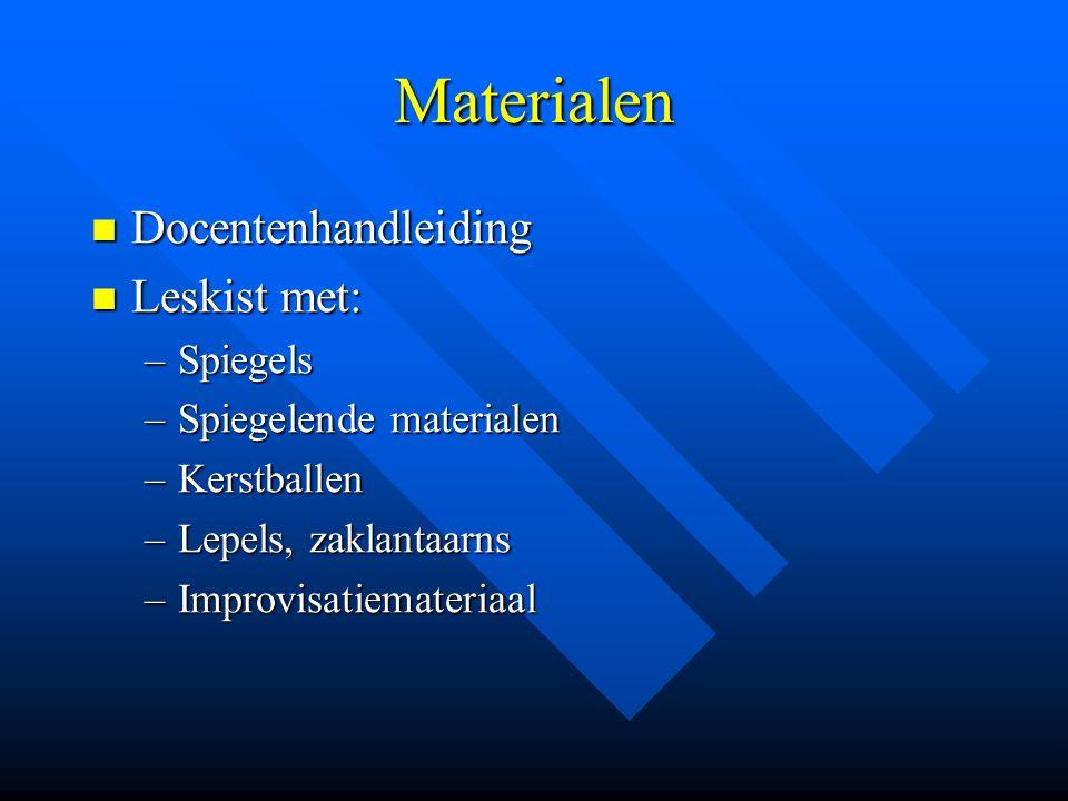 Materialen Docentenhandleiding Docentenhandleiding Leskist met: Leskist met: –Spiegels –Spiegelende materialen –Kerstballen –Lepels, zaklantaarns –Imp