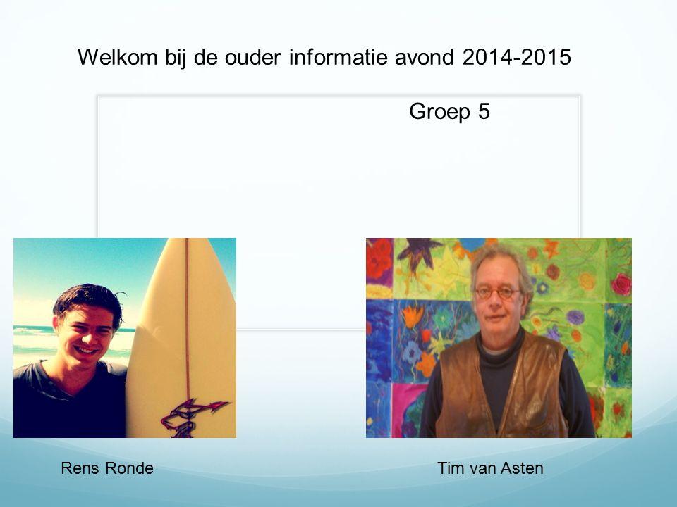 Rens Ronde Welkom bij de ouder informatie avond 2014-2015 Groep 5 Tim van Asten