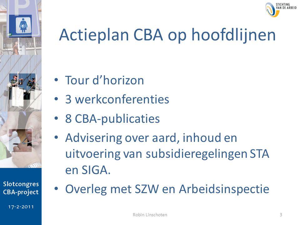 Actieplan CBA op hoofdlijnen Tour d'horizon 3 werkconferenties 8 CBA-publicaties Advisering over aard, inhoud en uitvoering van subsidieregelingen STA