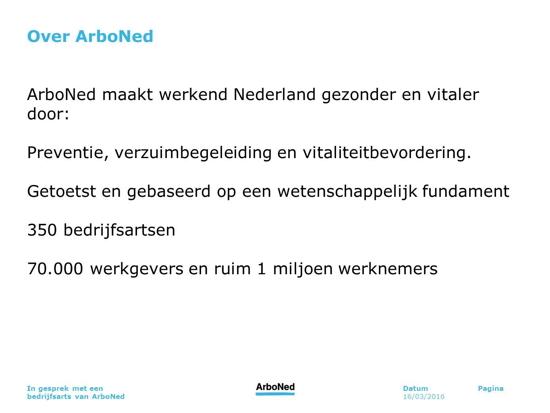 DatumPagina 16/03/2016 In gesprek met een bedrijfsarts van ArboNed Over ArboNed ArboNed maakt werkend Nederland gezonder en vitaler door: Preventie, v