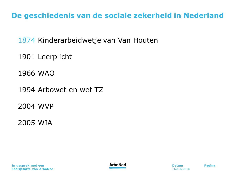 DatumPagina 16/03/2016 In gesprek met een bedrijfsarts van ArboNed De geschiedenis van de sociale zekerheid in Nederland 1874 Kinderarbeidwetje van Van Houten 1901 Leerplicht 1966 WAO 1994 Arbowet en wet TZ 2004 WVP 2005 WIA