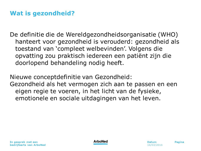 DatumPagina 16/03/2016 In gesprek met een bedrijfsarts van ArboNed Wat is gezondheid? De definitie die de Wereldgezondheidsorganisatie (WHO) hanteert