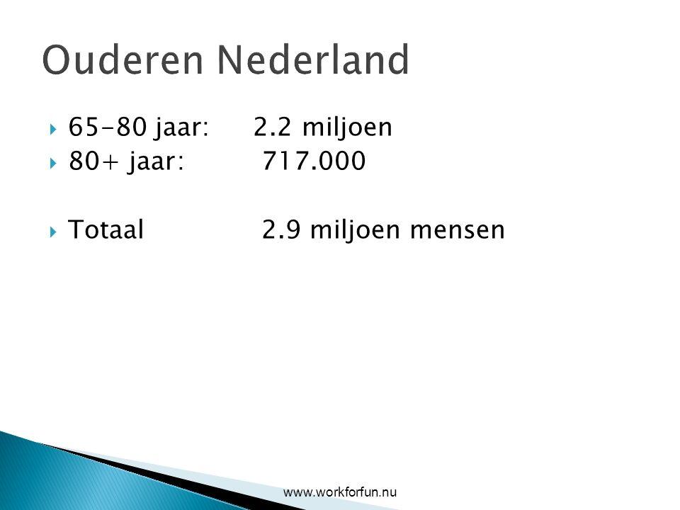 Ouderen Nederland  65-80 jaar: 2.2 miljoen  80+ jaar: 717.000  Totaal 2.9 miljoen mensen www.workforfun.nu