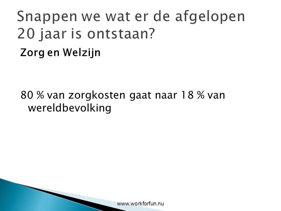 Snappen we wat er de afgelopen 20 jaar is ontstaan? Zorg en Welzijn 80 % van zorgkosten gaat naar 18 % van wereldbevolking www.workforfun.nu