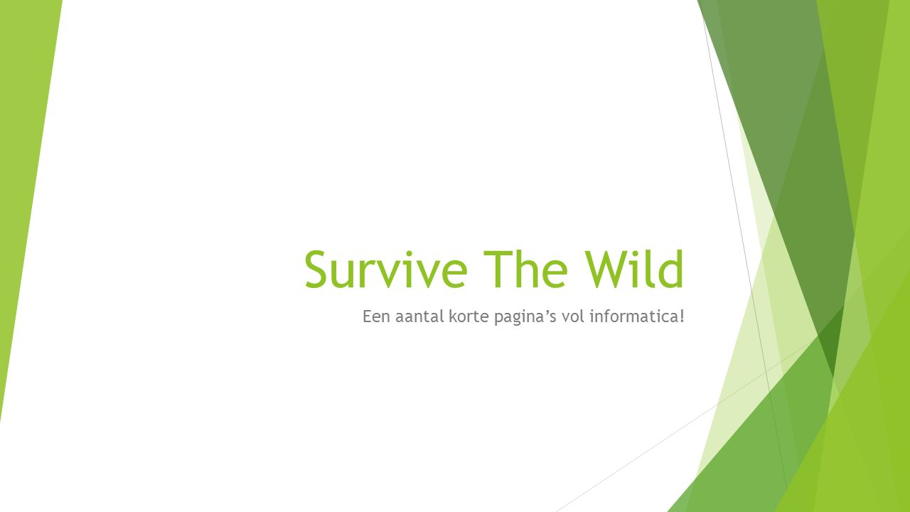 Survive The Wild Een aantal korte pagina's vol informatica!