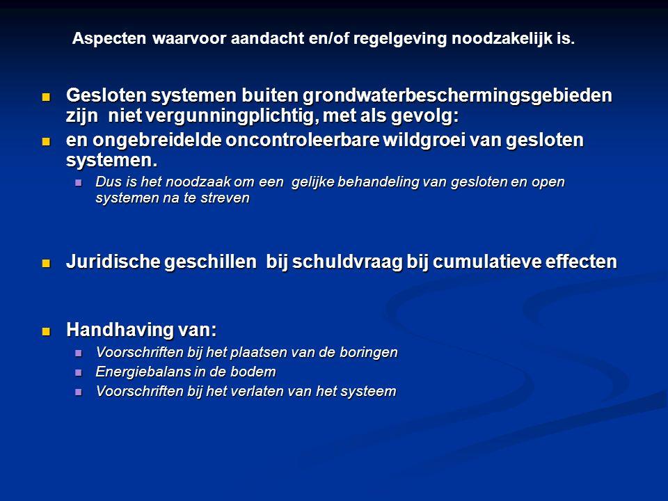 Gesloten systemen buiten grondwaterbeschermingsgebieden zijn niet vergunningplichtig, met als gevolg: Gesloten systemen buiten grondwaterbeschermingsg