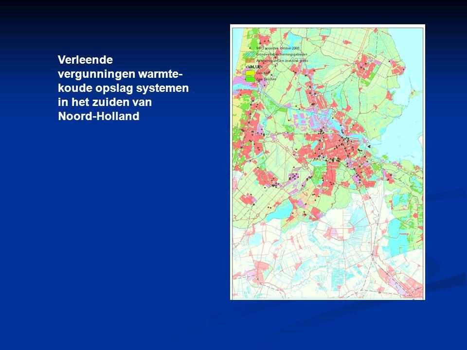 Verleende vergunningen warmte- koude opslag systemen in het zuiden van Noord-Holland