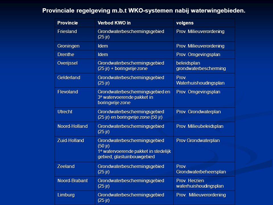 Mogelijke nadelige gevolgen bij de toepassing van WKO in grondwaterbeschermingsgebieden Verandering van het intrekgebied, van de drinkwaterwinning Verandering van het intrekgebied, van de drinkwaterwinning Met als gevolg vergroting van de kwetsbaarheid Met als gevolg vergroting van de kwetsbaarheid Lekkage tussen watervoerende pakketten via de boorgaten Lekkage tussen watervoerende pakketten via de boorgaten Chemische reacties door menging van verschillende grondwatertypen Chemische reacties door menging van verschillende grondwatertypen Verplaatsen van grondwaterverontreinigingen Verplaatsen van grondwaterverontreinigingen Deze vier aspecten kunnen tot gevolg hebben dat de kwaliteit van het opgepompte ruwwater kan veranderen waardoor een toename van de zuivering noodzakelijk is.