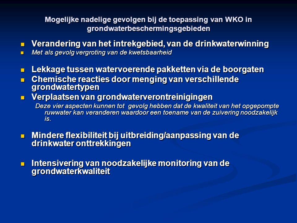 Mogelijke nadelige gevolgen bij de toepassing van WKO in grondwaterbeschermingsgebieden Verandering van het intrekgebied, van de drinkwaterwinning Ver