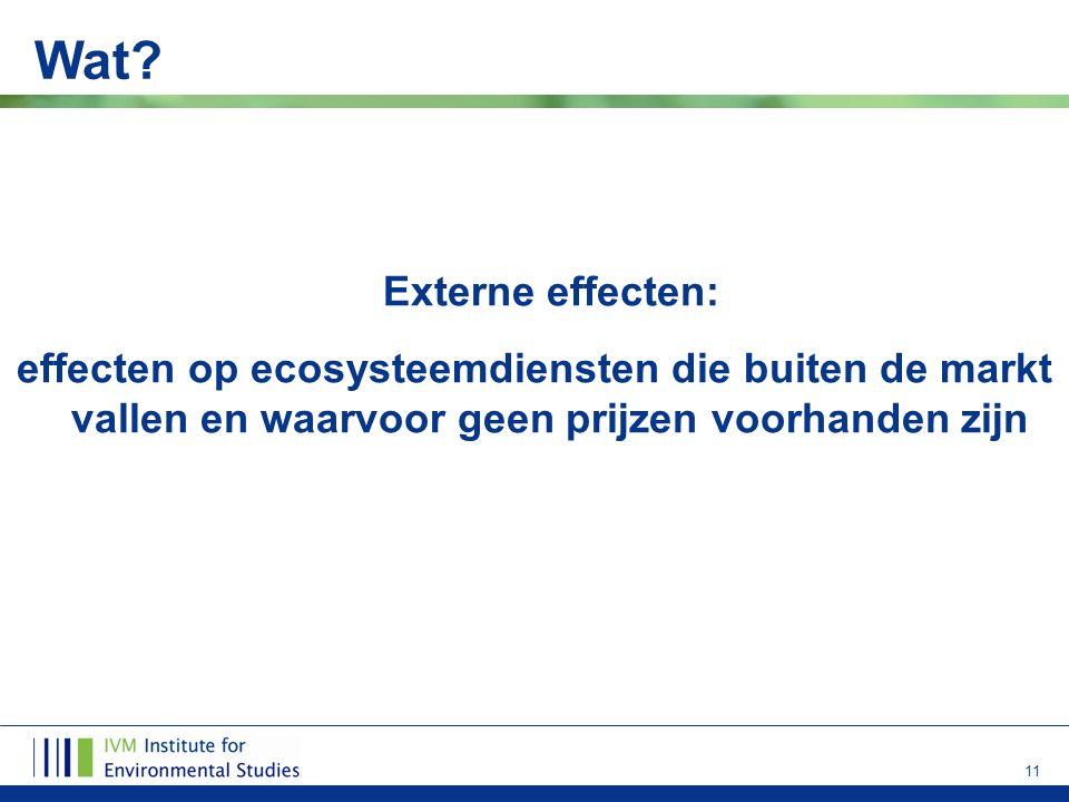 11 Wat? Externe effecten: effecten op ecosysteemdiensten die buiten de markt vallen en waarvoor geen prijzen voorhanden zijn