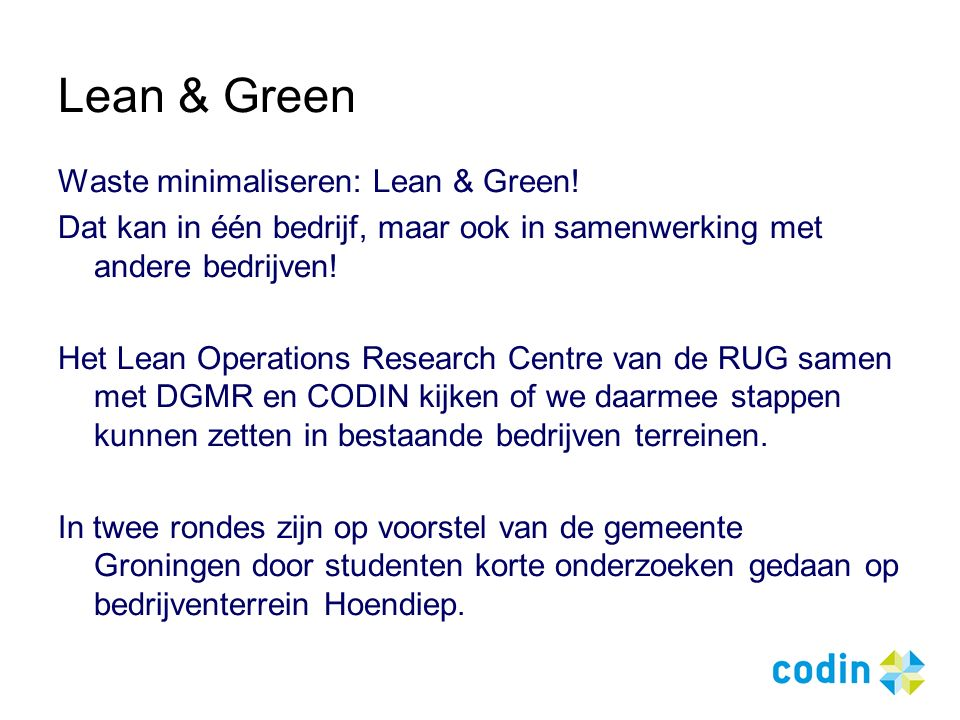 Lean & Green Waste minimaliseren: Lean & Green.