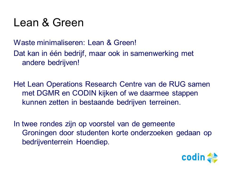 Voorbeeld Lean & Green Persbericht van vorige week: Zuivelproducent FrieslandCampina Benelux, levensmiddelenfabrikant H.J.