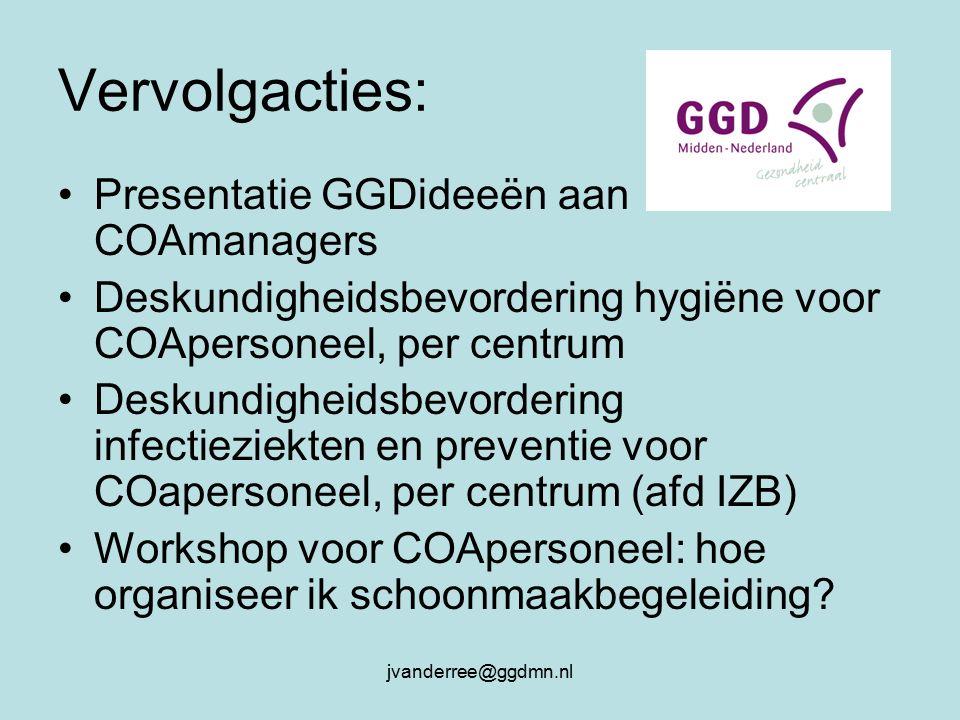 jvanderree@ggdmn.nl Vervolgacties: Presentatie GGDideeën aan COAmanagers Deskundigheidsbevordering hygiëne voor COApersoneel, per centrum Deskundigheidsbevordering infectieziekten en preventie voor COapersoneel, per centrum (afd IZB) Workshop voor COApersoneel: hoe organiseer ik schoonmaakbegeleiding
