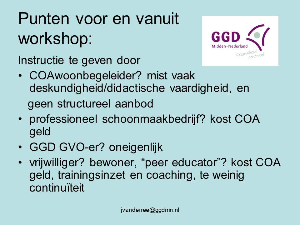 jvanderree@ggdmn.nl Punten voor en vanuit workshop: Instructie te geven door COAwoonbegeleider.