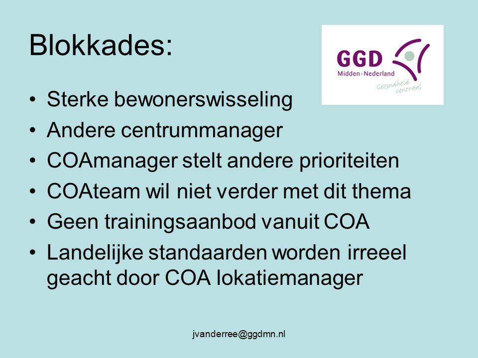 jvanderree@ggdmn.nl Blokkades: Sterke bewonerswisseling Andere centrummanager COAmanager stelt andere prioriteiten COAteam wil niet verder met dit thema Geen trainingsaanbod vanuit COA Landelijke standaarden worden irreeel geacht door COA lokatiemanager