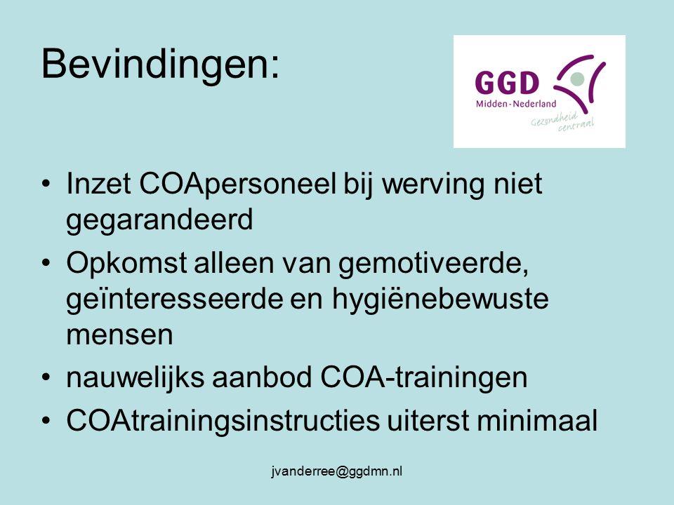 jvanderree@ggdmn.nl Bevindingen: Inzet COApersoneel bij werving niet gegarandeerd Opkomst alleen van gemotiveerde, geïnteresseerde en hygiënebewuste mensen nauwelijks aanbod COA-trainingen COAtrainingsinstructies uiterst minimaal