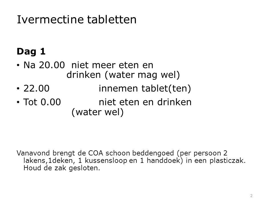 2 Ivermectine tabletten Dag 1 Na 20.00niet meer eten en drinken (water mag wel) 22.00innemen tablet(ten) Tot 0.00niet eten en drinken (water wel) Vana