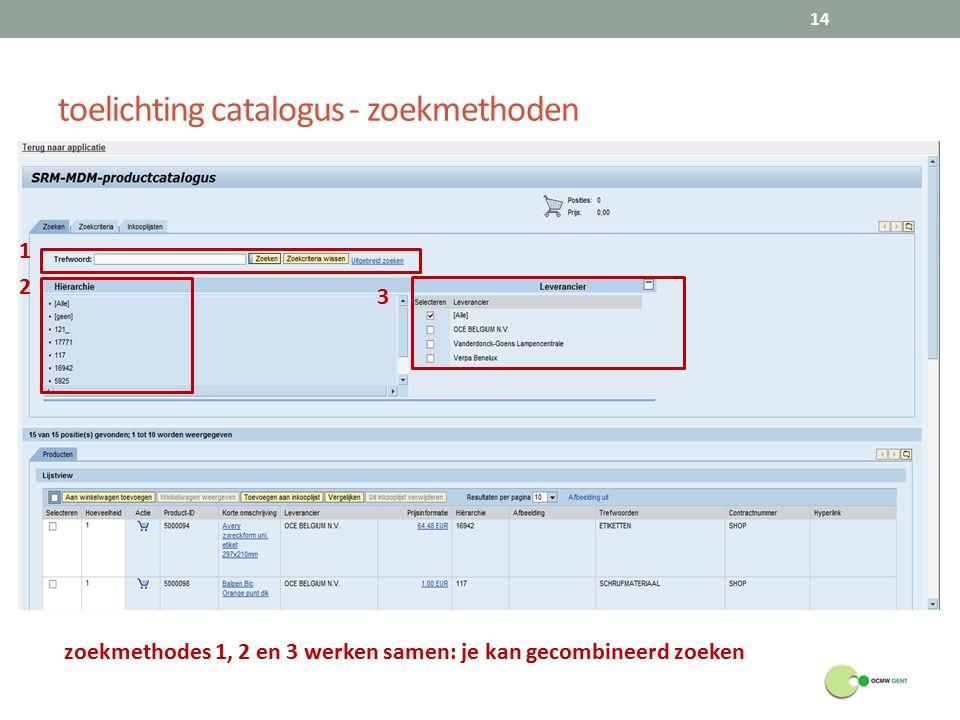 toelichting catalogus - zoekmethoden 14 zoekmethodes 1, 2 en 3 werken samen: je kan gecombineerd zoeken 1 3 2