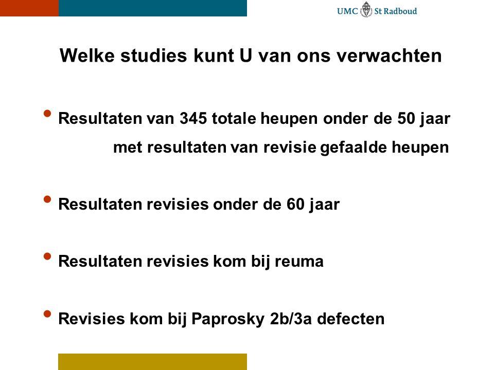 Welke studies kunt U van ons verwachten Resultaten van 345 totale heupen onder de 50 jaar met resultaten van revisie gefaalde heupen Resultaten revisies onder de 60 jaar Resultaten revisies kom bij reuma Revisies kom bij Paprosky 2b/3a defecten